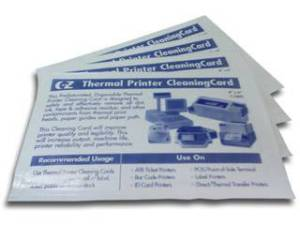 EZ-Thermal - Thermal Printer Cleaning Cards  (101.6mm) - PreSaturated, Effectively removes dirt, ink, adhesive residue etc from thermal print heads / paper path