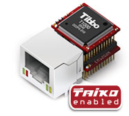 Tibbo EM1202 and RJ1202 - BASIC-programmable Ethernet Module and Companion Ethernet Connector - The EM1202 is a third-generation Tibbo Ethernet module
