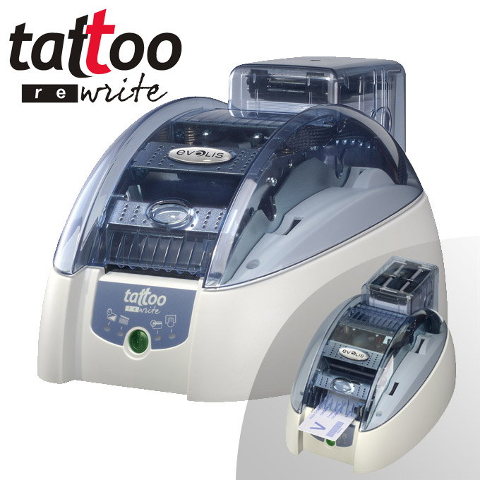 Evolis Tattoo Rewrite - Card Printer - Print and erase the same monochrome card up to 500 times!